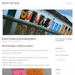 Everything is an assessment…