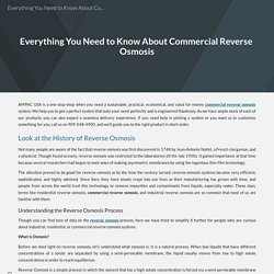 Everything You Need to Know About Commercial Reverse Osmosis