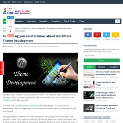 Everything you need to know about WordPress Theme Development - Web Design and Development Tricks
