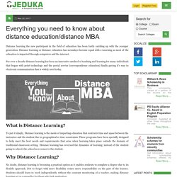 Everything you need to know about distance education/distance MBA