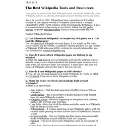 Guide to Wikipedia Tools & Resources - Everything You Wanted to Do With Wikipedia Encyclopedia