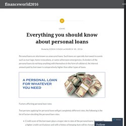 Everything you should know about personal loans – financeworld2016
