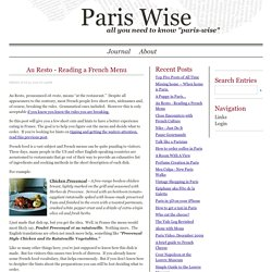 Paris Wise - Everything you need to know paris-wise - Journal - Au Resto - Reading a FrenchMenu