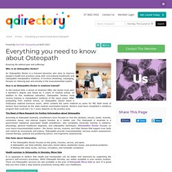 Everything you need to know about Osteopath