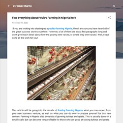 Find everything about Poultry Farming in Nigeria here