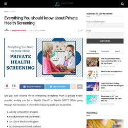 Everything You should know about Private Health Screening