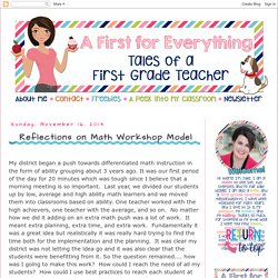 A First for Everything : Reflections on Math Workshop Model