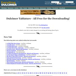 Dulcimer Tablature - All Free for the Downloading!