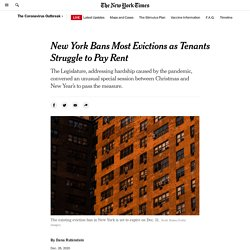 New York Bans Most Evictions as Tenants Struggle to Pay Rent
