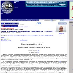 Article: There is no evidence that Muslims committed the crime of 9/11