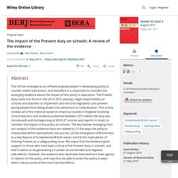 The impact of the Prevent duty on schools: A review of the evidence - Jerome - 2019 - British Educational Research Journal