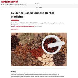 Evidence-Based Chinese Herbal Medicine