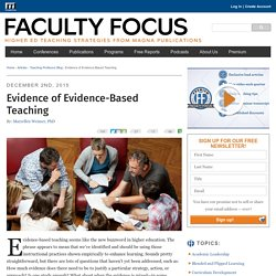 Evidence of Evidence-Based Teaching