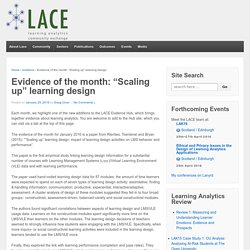 "Evidence of the month: ""Scaling up"" learning design"