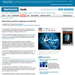 Best evidence yet that a single gene can affect IQ - health - 16 April 2012