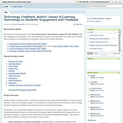 Higher Education Academy EvidenceNet / Technology, Feedback, Action!: Impact of Learning Technology on Students' Engagement with Feedback