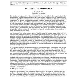 Mackie, JL (1955), 'Evil and Omnipotence', Mind, 64 (254), 200–212
