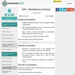 EVM Miscellaneous Formula