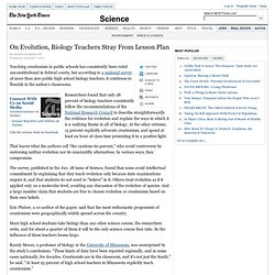 On Evolution, Biology Teachers Stray From Lesson Plan