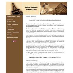 Contrat de travail et évolution des fonctions du salarié - Cabinet d'avocats Chamaillard - Paris