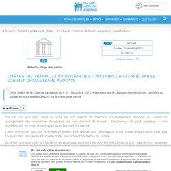 Contrat de travail et évolution des fonctions du salarié, par le Cabinet Chamaillard Avocats