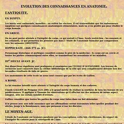 EVOLUTION DES CONNAISSANCES EN ANATOMIE
