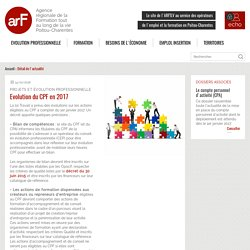 Evolution du CPF en 2017