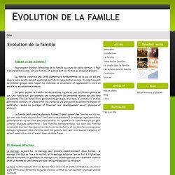 Evolution de la famille - Evolution de la famille
