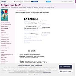 EVOLUTION DE LA FAMILLE EN FRANCE. Les types de familles. - Préparons le C1.