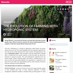 THE EVOLUTION OF FARMING WITH HYDROPONIC SYSTEM