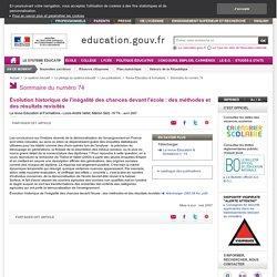 Évolution historique de l'inégalité des chances devant l'école : des méthodes et des résultats revisités