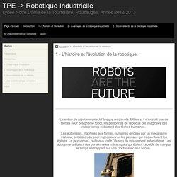 1 - L'histoire et l'évolution de la robotique. - TPE -> Robotique Industrielle