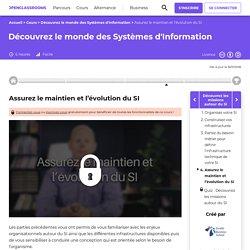Assurez le maintien et l'évolution du SI - Découvrez le monde des Systèmes d'Information