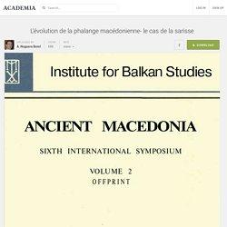 L'évolution de la phalange macédonienne- le cas de la sarisse