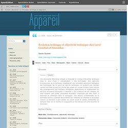 Évolution technique et objectivité technique chez Leroi-Gourhan et Simondon