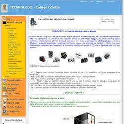 TECHNOLOGIE - Collège Colette - L'évolution des objets et leur impact