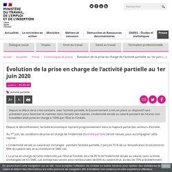 Évolution de la prise en charge de l'activité partielle au 1er juin 2020 - Ministère du Travail, de l'Emploi et de l'Insertion