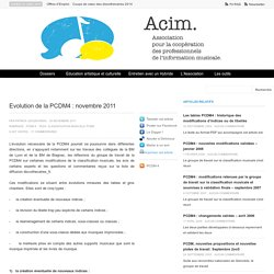 Evolution de la PCDM4 : novembre 2011