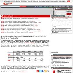 Evolution des résultats financiers de Bouygues Télécom depuis l'arrivée de Free Mobile