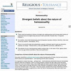 Divergent beliefs about the nature of homosexuality