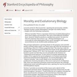 Morality and Evolutionary Biology