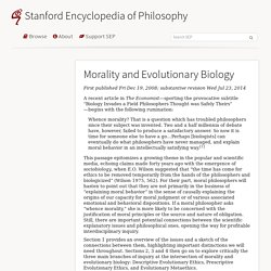 Morality and Evolutionary Biology (Stanford Encyclopedia of Philosophy)