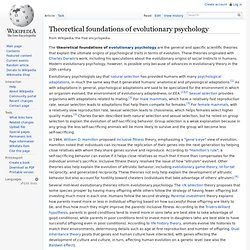 Theoretical foundations of evolutionary psychology