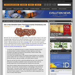 Evolution News & Views: Ida's Critics Demolish Claims That Fossil Is Human Evolutionary Link