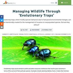 Managing Wildlife Through 'Evolutionary Traps' - Faunalytics