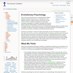 Evolutionary Psychology [The Human Condition]