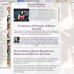 Evolutionary Philosophy of Sex and Human Sexuality: Reproduction, Couple Bonding, Health, Pleasure, Beauty