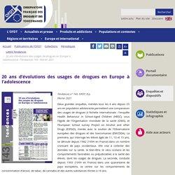 20 ans d'évolutions des usages de drogues en Europe à l'adolescence / OFDT, Tendances 143, février 2021