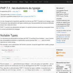 PHP 7.1 : les évolutions du typage — Pascal MARTIN: développement Web & PHP