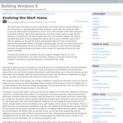 Evolving the Start menu - Building Windows 8